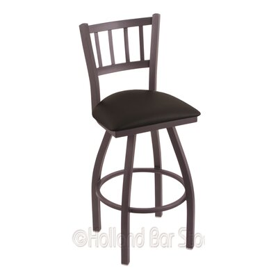 Contessa 36 Swivel Bar Stool Finish: Pewter, Upholstery: Black Vinyl
