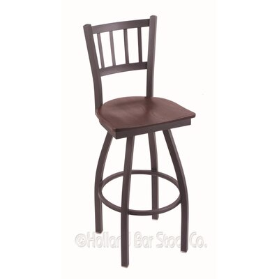 Contessa Swivel Bar Stool Base Finish: Pewter, Upholstery: Dark Cherry Oak