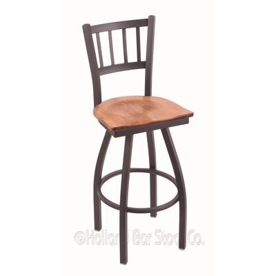 Contessa Swivel Bar Stool Base Finish: Pewter, Upholstery: Medium Maple