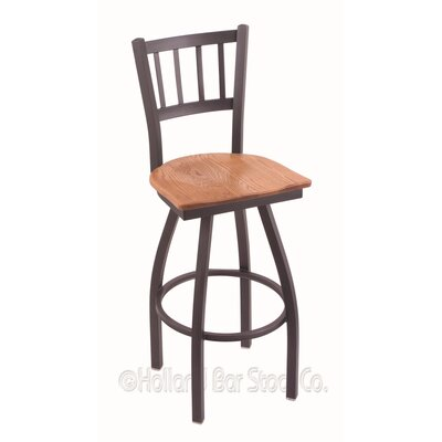 Contessa Swivel Bar Stool Upholstery: Medium Oak, Base Finish: Pewter