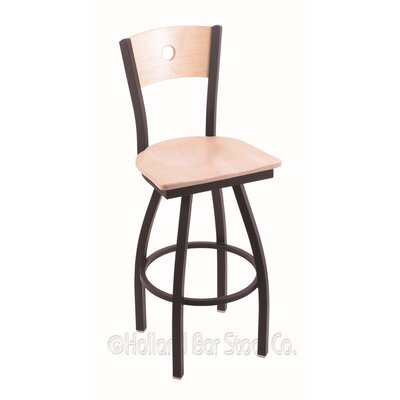 Voltaire 25 Swivel Bar Stool Base Finish: Black Wrinkle, Upholstery: Natural Maple