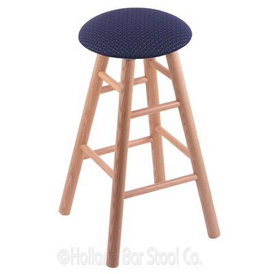 24 inch Swivel Bar Stool Upholstery: Axis Denim, Finish: Natural Oak