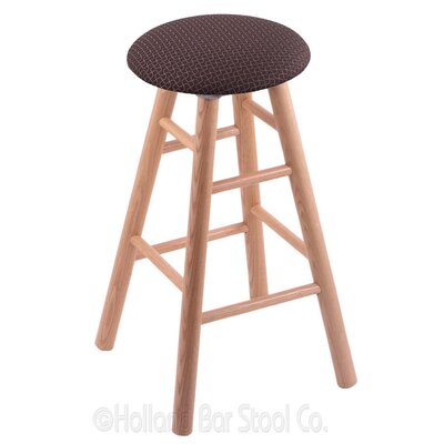 24 inch Swivel Bar Stool Upholstery: Axis Truffle, Finish: Natural Oak