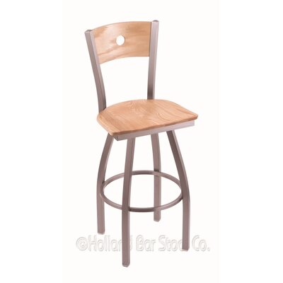 Voltaire 25 Swivel Bar Stool Base Finish: Stainless, Upholstery: Natural Oak