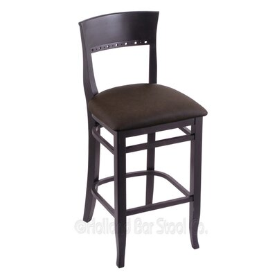 30 Bar Stool Finish: Black, Upholstery: Rein Coffee