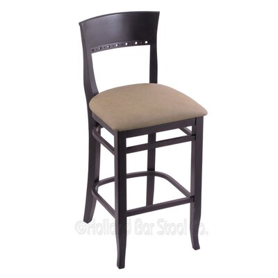 25 inch Bar Stool Upholstery: Rein Thatch, Finish: Black