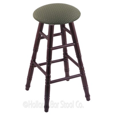 36 Swivel Bar Stool Finish: Dark Cherry Oak, Upholstery: Axis Grove