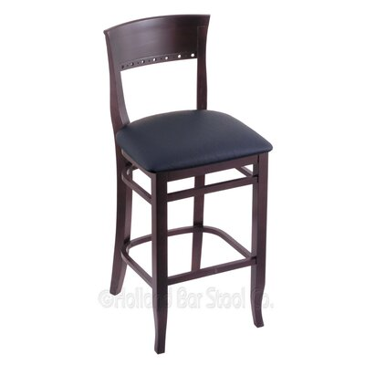 30 Bar Stool Finish: Dark Cherry, Upholstery: Allante Dark Blue