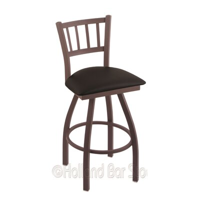 Contessa 36 Swivel Bar Stool Finish: Bronze, Upholstery: Black Vinyl