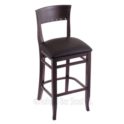 25 Bar Stool Finish: Dark Cherry, Upholstery: Allante Espresso