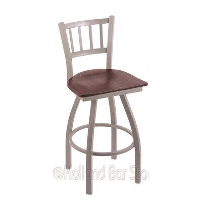 Contessa 36 inch Swivel Bar Stool Base Finish: Anodized Nickel, Upholstery: Dark Cherry Oak