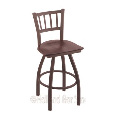 Contessa 36 Swivel Bar Stool Base Finish: Bronze, Upholstery: Dark Cherry Oak