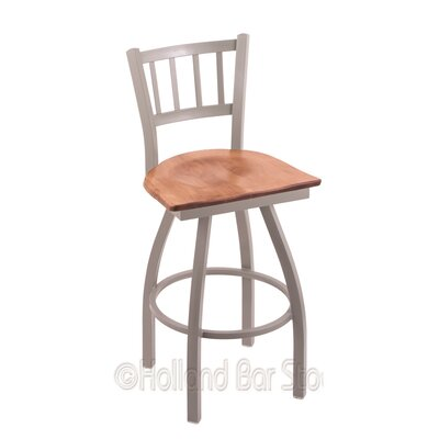 Contessa 36 Swivel Bar Stool Base Finish: Anodized Nickel, Upholstery: Medium Maple