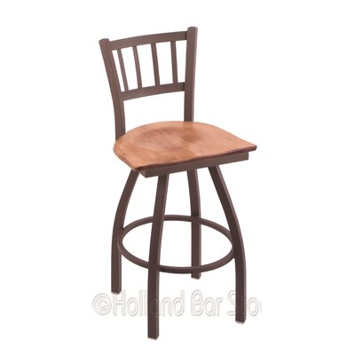 Contessa 25 Swivel Bar Stool Base Finish: Bronze, Upholstery: Medium Maple
