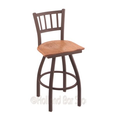 Contessa 25 Swivel Bar Stool Base Finish: Bronze, Upholstery: Medium Oak