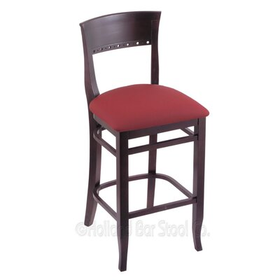 25 inch Bar Stool Finish: Dark Cherry, Upholstery: Allante Wine
