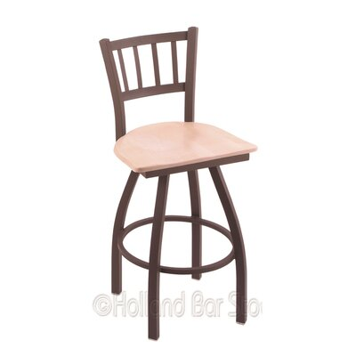 Contessa 30 Swivel Bar Stool Base Finish: Bronze, Upholstery: Natural Maple