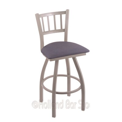 Contessa 25 Swivel Bar Stool Finish: Anodized Nickel, Upholstery: Rein Bay