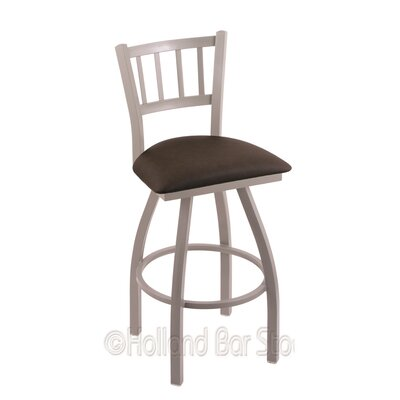 Contessa 25 Swivel Bar Stool Finish: Anodized Nickel, Upholstery: Rein Coffee