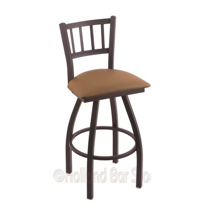 Contessa 25 Swivel Bar Stool Finish: Black Wrinkle, Upholstery: Allante Beechwood