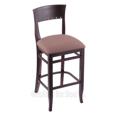 25 Bar Stool Finish: Dark Cherry, Upholstery: Axis Willow