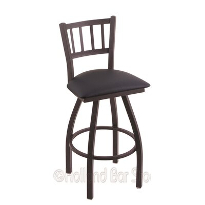 Contessa 25 Swivel Bar Stool Finish: Black Wrinkle, Upholstery: Allante Dark Blue