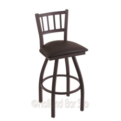 Contessa 25 Swivel Bar Stool Finish: Black Wrinkle, Upholstery: Allante Espresso