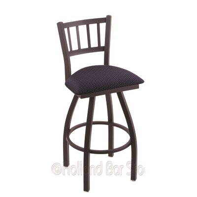 Contessa 25 Swivel Bar Stool Finish: Black Wrinkle, Upholstery: Axis Denim