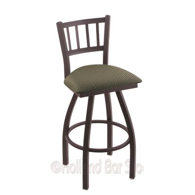 Contessa 25 Swivel Bar Stool Finish: Black Wrinkle, Upholstery: Axis Grove