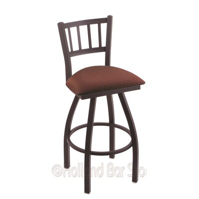 Contessa 25 Swivel Bar Stool Upholstery: Axis Paprika, Finish: Black Wrinkle