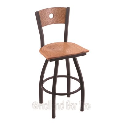Voltaire 30 inch Swivel Bar Stool Base Finish: Black Wrinkle, Upholstery: Medium Oak