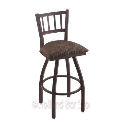 Contessa 36 inch Swivel Bar Stool Upholstery: Axis Truffle, Finish: Black Wrinkle