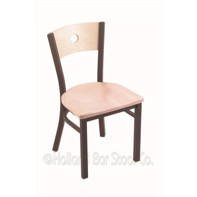 Voltaire Solid Wood Dining Chair Base Finish: Bronze, Upholstery: Natural Maple