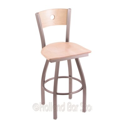 Voltaire 25 Swivel Bar Stool Base Finish: Stainless, Upholstery: Natural Maple