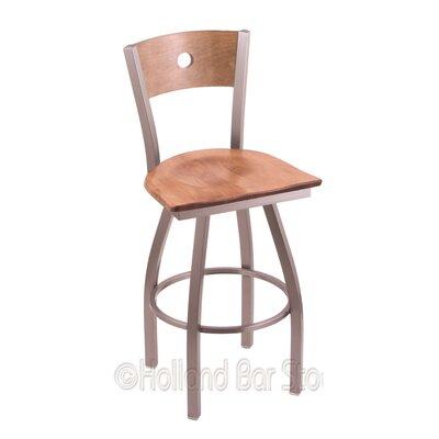 Voltaire 30 Swivel Bar Stool Base Finish: Stainless, Upholstery: Medium Maple