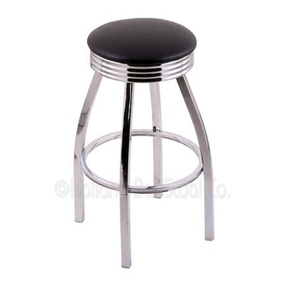 Classic Series 25 Swivel Bar Stool Finish: Chrome, Upholstery: Black Vinyl