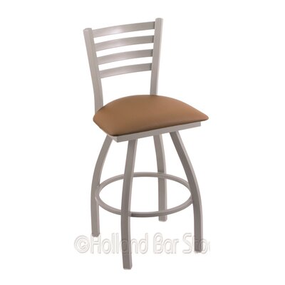 Jackie 25 Swivel Bar Stool Finish: Anodized Nickel, Upholstery: Allante Beechwood
