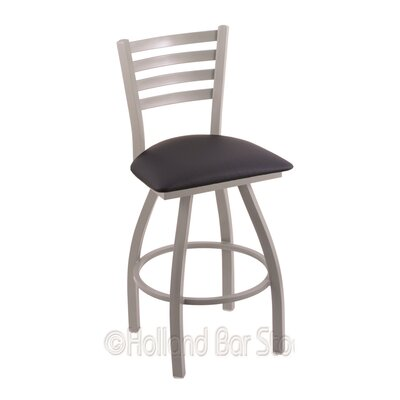 Jackie 30 Swivel Bar Stool Finish: Anodized Nickel, Upholstery: Allante Dark Blue
