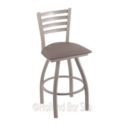 Jackie 25 Swivel Bar Stool Finish: Anodized Nickel, Upholstery: Allante Medium Grey