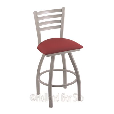 Jackie 30 Swivel Bar Stool Finish: Anodized Nickel, Upholstery: Allante Wine