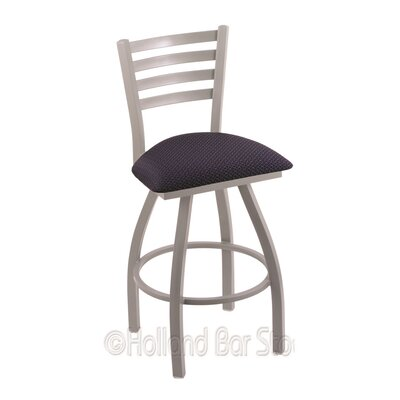 Jackie 36 Swivel Bar Stool Finish: Anodized Nickel, Upholstery: Axis Denim