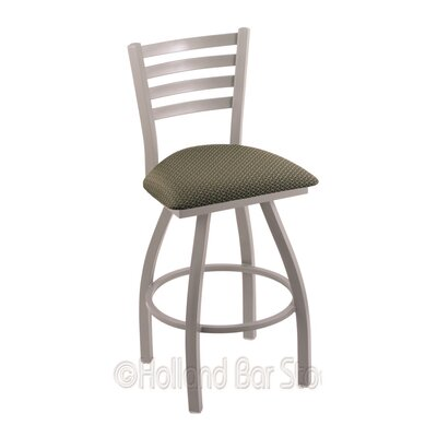 Jackie 30 inch Swivel Bar Stool Upholstery: Axis Grove, Finish: Anodized Nickel