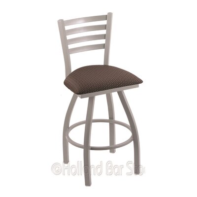 Jackie 30 Swivel Bar Stool Finish: Anodized Nickel, Upholstery: Axis Truffle