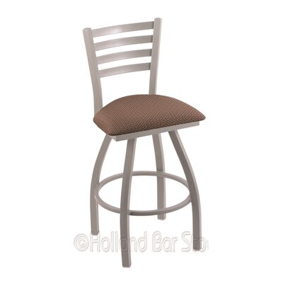 Jackie 30 Swivel Bar Stool Upholstery: Axis Willow, Finish: Anodized Nickel