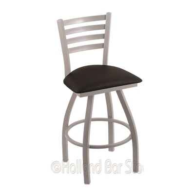 Jackie 36 Swivel Bar Stool Finish: Anodized Nickel, Upholstery: Black Vinyl