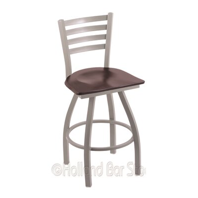 Jackie 30 Swivel Bar Stool Upholstery: Dark Cherry Maple, Base Finish: Anodized Nickel