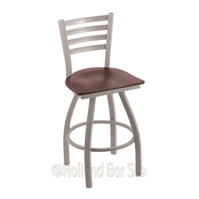 Jackie 36 Swivel Bar Stool Base Finish: Anodized Nickel, Upholstery: Dark Cherry Oak
