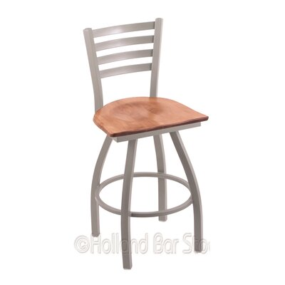 Jackie 36 Swivel Bar Stool Base Finish: Anodized Nickel, Upholstery: Medium Maple