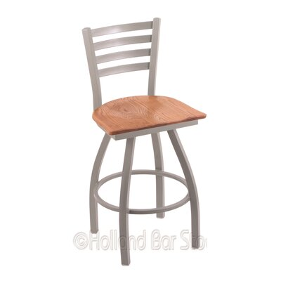 Jackie 30 Swivel Bar Stool Base Finish: Anodized Nickel, Upholstery: Medium Oak