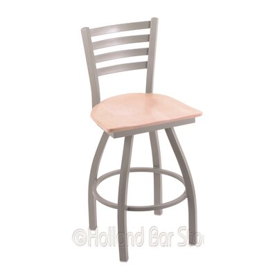 Jackie 30 Swivel Bar Stool Upholstery: Natural Maple, Base Finish: Anodized Nickel